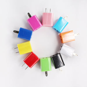 New Colorful Dual 2 USB Port Home Wall Travel Charger Plug Adapter 5v 2.1A
