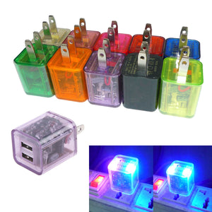 Wholesale LED Light Dual USB Home Travel Wall Charger Adapter 23.1A