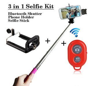 Selfie Kit set for smartphone with bluetooth shutter