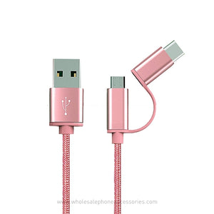 China-Supplier-2 in 1 Fabric Braided USB Cable Charger for iPhone android V8 Type C-cheap-Price-Wholesale-USA-Distributor-Factory-Bulk-Lots-Manufacturer
