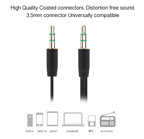 Image of OEM Thin Flat Noodle 3.5mm Aux cable audio for car speaker