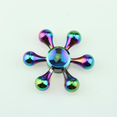 Image of Relieve Stress and Focus Attention Wholesale Rainbow Fidget Spinner Metal Six Arm Hand Spinner Bearing Fidget Toys Tri-Spinner Finger Spinner AntiStress-Autism Rotating Toys Bulk