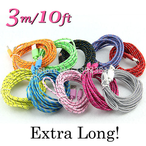 10ft 3m long Braided Fabric rugged USB data Cable charger cord for iPhone 7 6 5 4 4s Micro USB Android V8