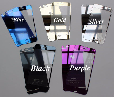 Image of Wholesale Chromeplated tempered glass screen protector for iPhone