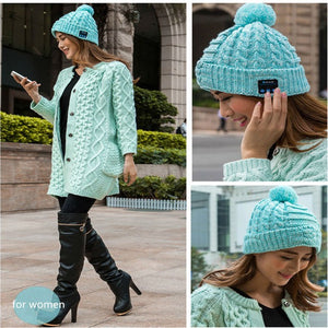 Wireless Bluetooth Winter Beanie Hat Knitted Fabric Pom Pom Handsfree Mic & Volume design Music for Women