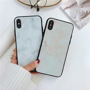Marble Glass Hard Back Case Cover Soft TPU Frame for iPhone X 8 7 6 s Plus [Anti-Shock]