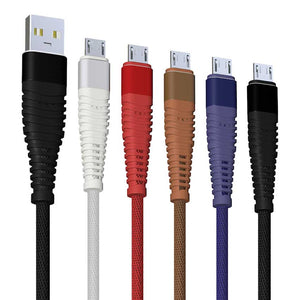 3ft Mermaid Braided Mesh Cable 2A fast Charging for iPhone iPad Android Micro V8 Type C