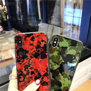 Camouflage Luxury Tempered Glass Hard Back Case Cover with Soft TPU Bumper Frame for iPhone X 8 7 6 s Plus [Shock Absorption]
