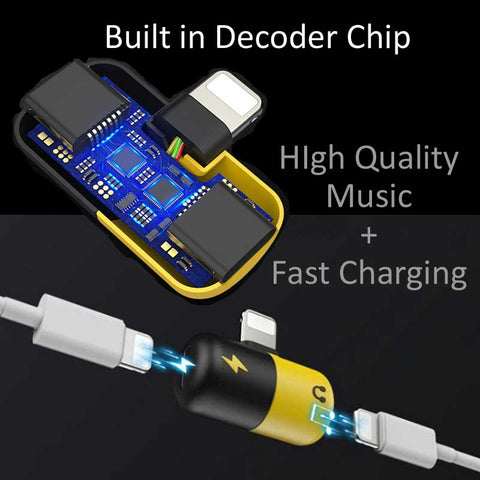 2 in 1 Dual Audio Lightning Adapter for iPhone 7 8 X Plus Music + Charging