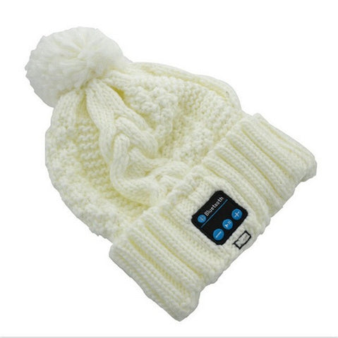 Cream Womens pom pom beanie hat winter cap bluetooth wireless