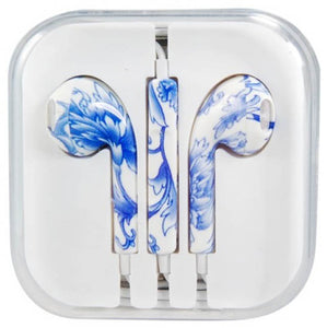 blue wholesale cute earphones printed design unique