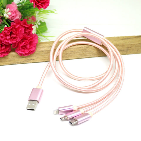 China Factory OEM 3 in 1 High Speed fast Charger USB Data Cable for type c v8 micro usb android iPhone