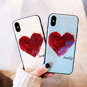 Cute Hearts Glass Hard Back Protective Case Cover Soft TPU for iPhone X 8 7 6 s Plus [Shock Proof]