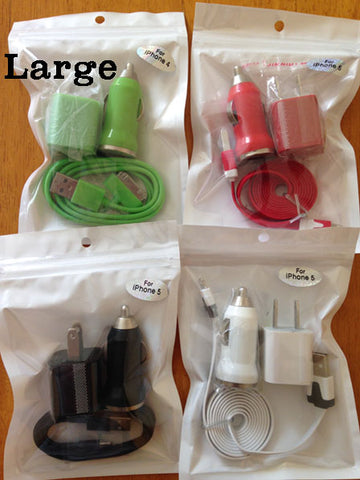 Retail packaging white opp bags ziplock for usb cables wall car chargers mobile cell phone accessories