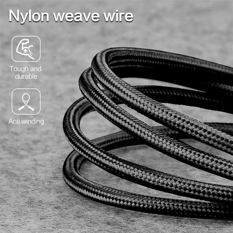 90 Degree Nylon Braided USB Cable fast Charging for iPhone iPad Android V8 Micro Type C