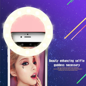 RK14 LED Selfie Ring Light with 3 Brightness Modes 33 LEDs Rechargeable Battery