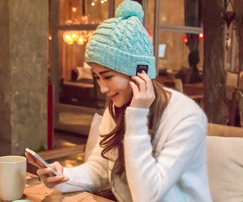 iphone cap winter hat beanie knitted fabric bluetooth wireless haeadset