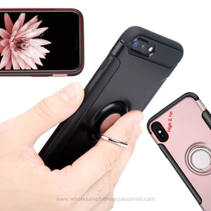 ShockProof Case Cover with Magnetic Ring Holder Stand For iPhone X 10 8 7 6 6s Plus