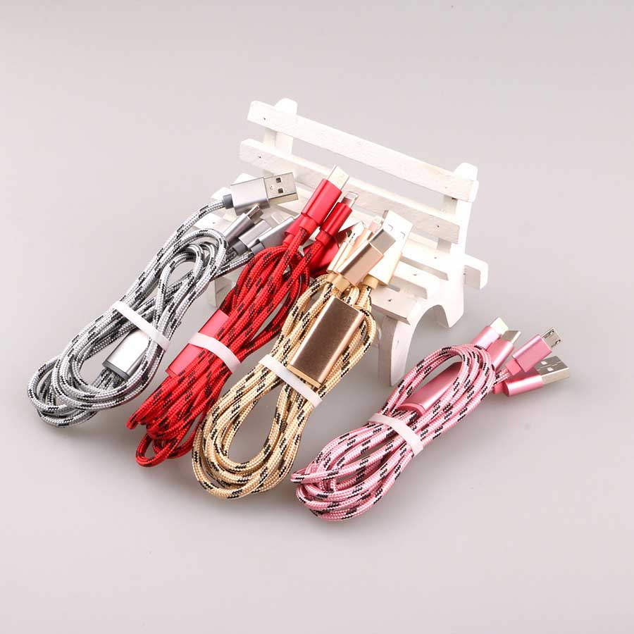 3 in 1 Fabric Braided 2A Fast Charging cable for iPhone + Micro/V8 + Type C