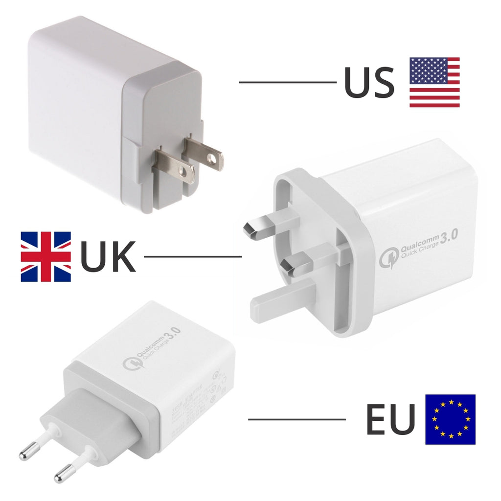 China Supplier Qualcomm Quick Charger QC3.0 3 USB Port Fast Rapid Wall Charger US EU UK Turbo Travel Adapter Mains Plug Cheap Price Wholesale USA Distributor Factory Bulk Lots Manufacturer