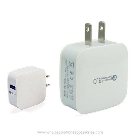 Image of  China Supplier QuallComm 3.0 Quick Charge Travel Home Fast Wall Charger for Mobile Phone QC3.0 Cheap Price Wholesale USA Distributor Factory Bulk Lots  Manufacturer