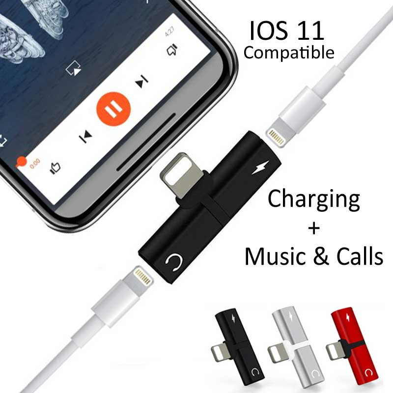 2 in 1 Dual Lightning Pin Audio Jack Music Adapter for iPhone 7 8 X 9
