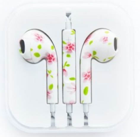 Image of pattern flower cute fancy earphones for iphone