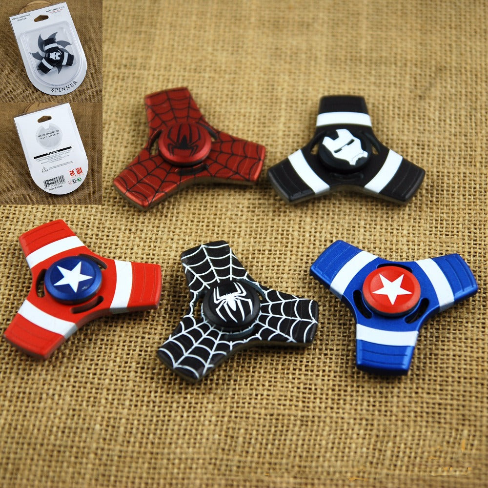 Wholesale Zinc alloy the avengers Super Hero Captain America Fidget Hand Spinners Spiderman Superman Iron Flash hand spinner Bulk Shipping