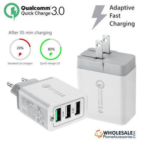 Image of China Supplier Qualcomm Quick Charger QC3.0 3 USB Port Fast Rapid Wall Charger US EU UK Turbo Travel Adapter Mains Plug Cheap Price Wholesale USA Distributor Factory Bulk Lots Manufacturer