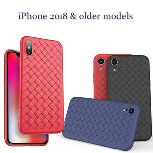 Luxury Braided Grid Weaving Case Cover for iPhone X 8 7 6 Plus