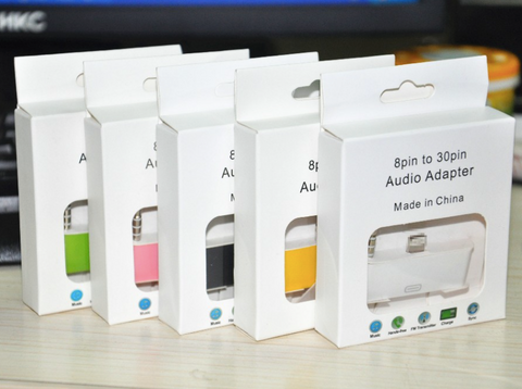 30 pin to 8 pin adapter audio dock in retail packing
