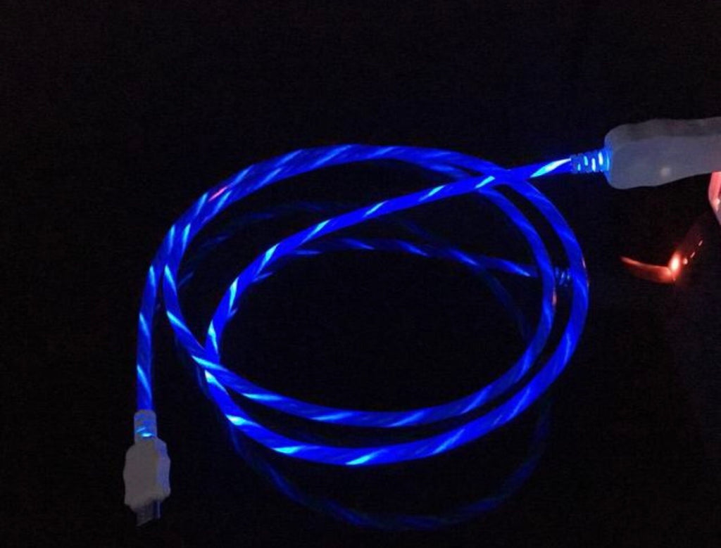 Led luminous running light cable for iPhone Android V8 micro Type C