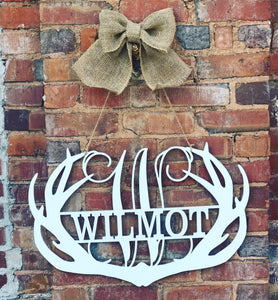 Antler w/Name Door Hanger