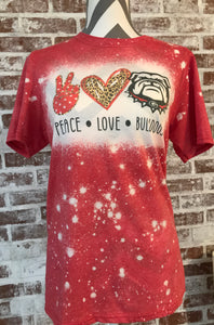 Peace•Love•Bulldogs Bleached Tee