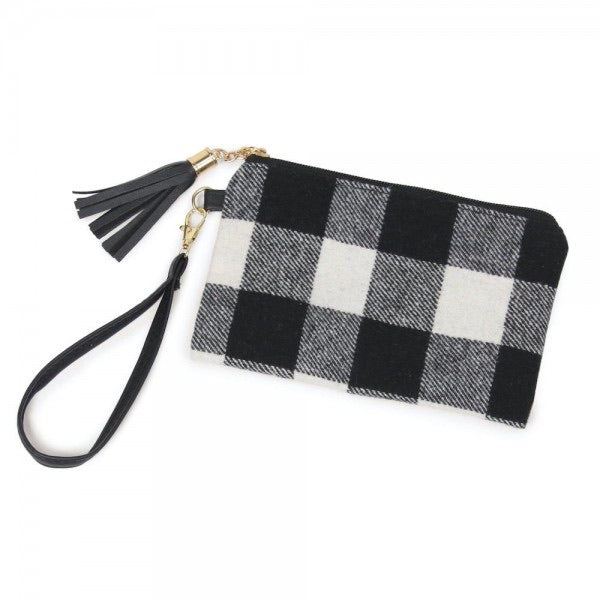 Small Black/White Buffalo Clutch
