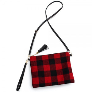 Large Red/Black Buffalo Clutch/Crossbody