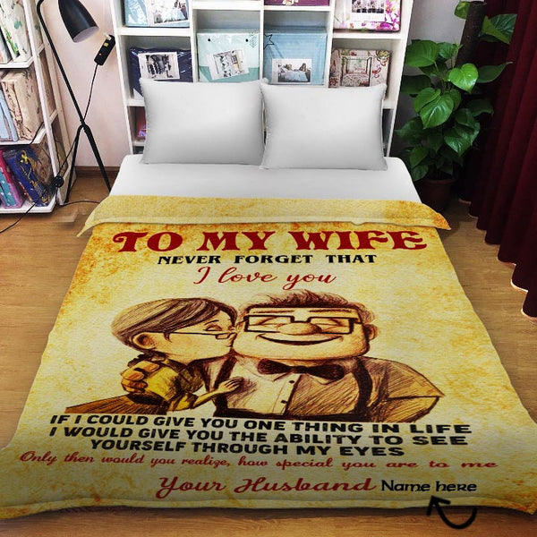 Carl /& Ellie To My Wife You Are Stronger Fleece Blanket 50x60; 60x80 Made In US
