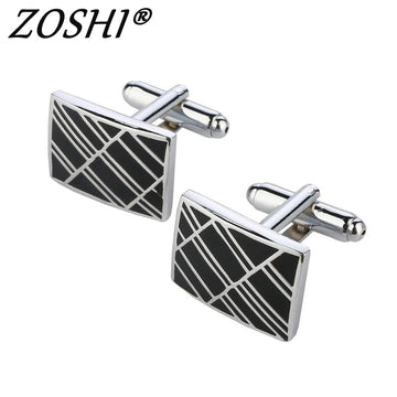 1pair Vintage Men's Stainless Steel Silver Square Wedding Gift Grid Laser Cuff Links Drop Shipping Wholesale Price