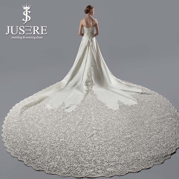 JUSERE Exquisite A-Line Strapless Embroidery Satin Wedding Gown
