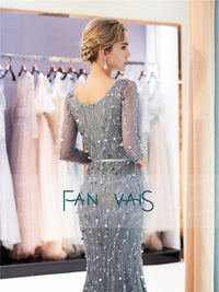 Grey Mermaid Long Sleeved V-Neck Delicate Beaded Gown