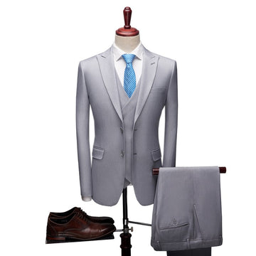 Terno De Casamento Mens 3 Piece Suit Regular Fit New Style Grey/Blue Formal Tuxedo Jacket Pant Vest Skinny Prom Suits