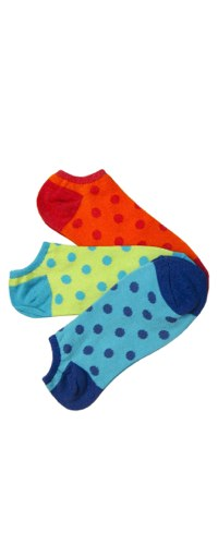 Bright Polka Dot No-Show 3pk