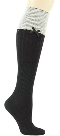 Ribbed Knee High w/Bow-blk