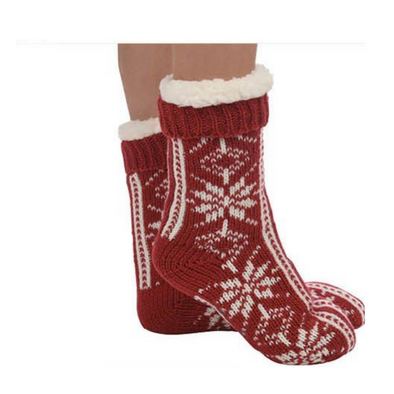 Red Snowflake Sherpa Slipper Sock