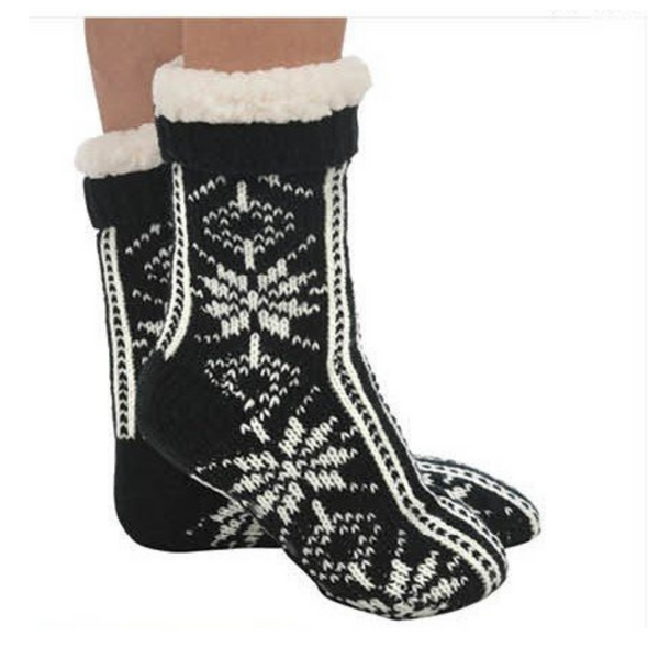 Black Snowflake Sherpa Slipper Sock