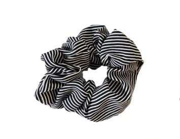 Striped Scrunchie/Black & White