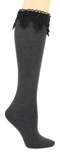 Lace Knee High Boot Socks