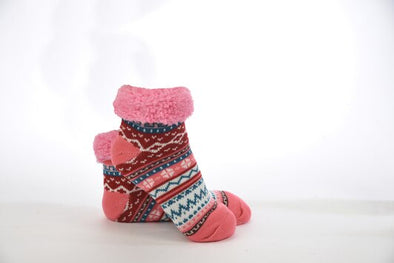 Cranberry Sherpa Bright Footies