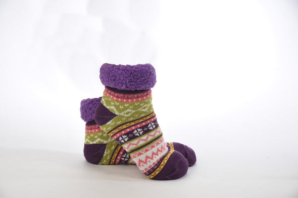 Purple Sherpa Bright Footies