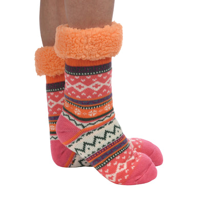 Coral Sherpa Bright Slipper Sock